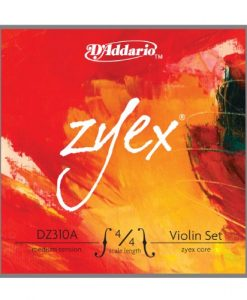 D'Addario Zyex Violin String Set with Aluminum D, 4/4 Scale, Medium Tension